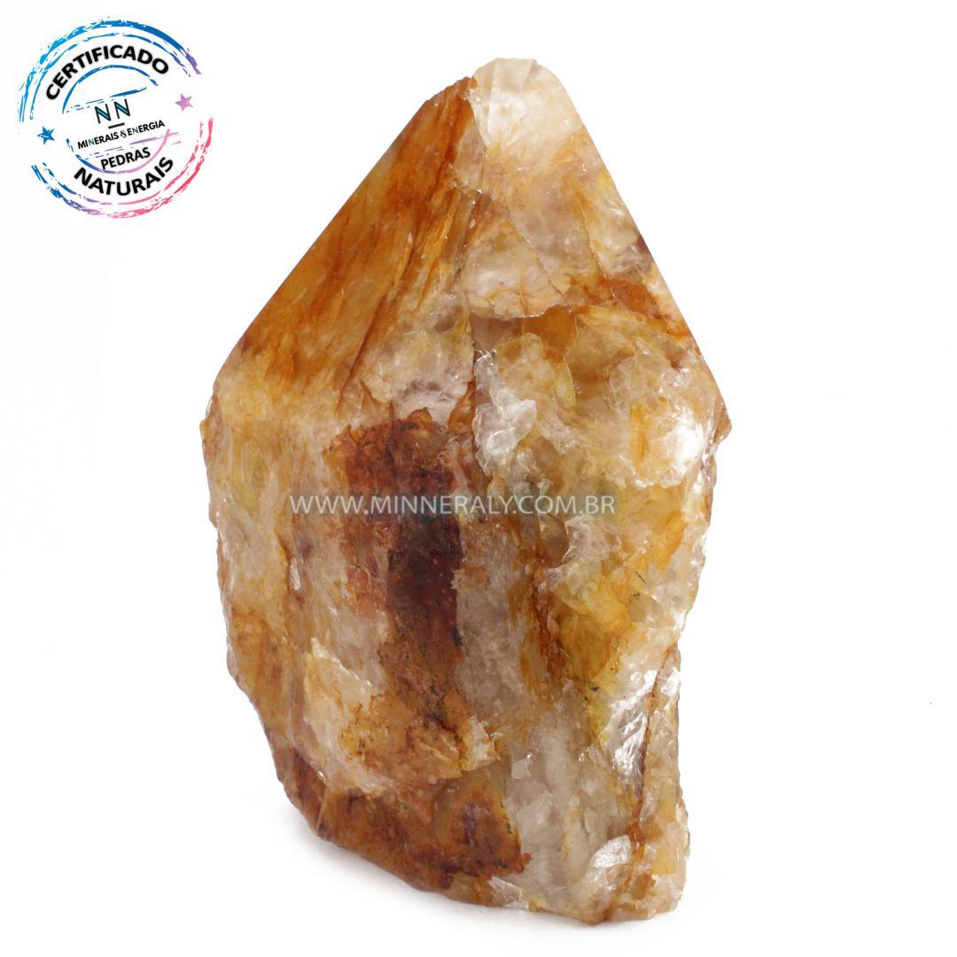 Ponta Geradora de Quartzo ou Cristal Hematoide (Agente de Cura Ouro) in Natura (1,566kg; 16,1cm) #NN117