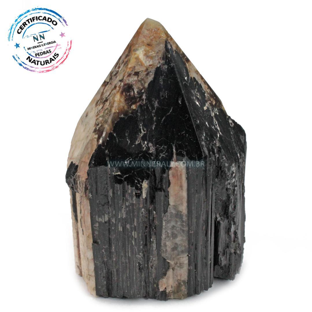 Ponta Geradora de Turmalina Preta (negra ou Schorlina) com Mica e Feldspato IN Natura (0,480KG; ALT: 9,9CM; COMP: 6,8CM; LARG: 5,3CM)