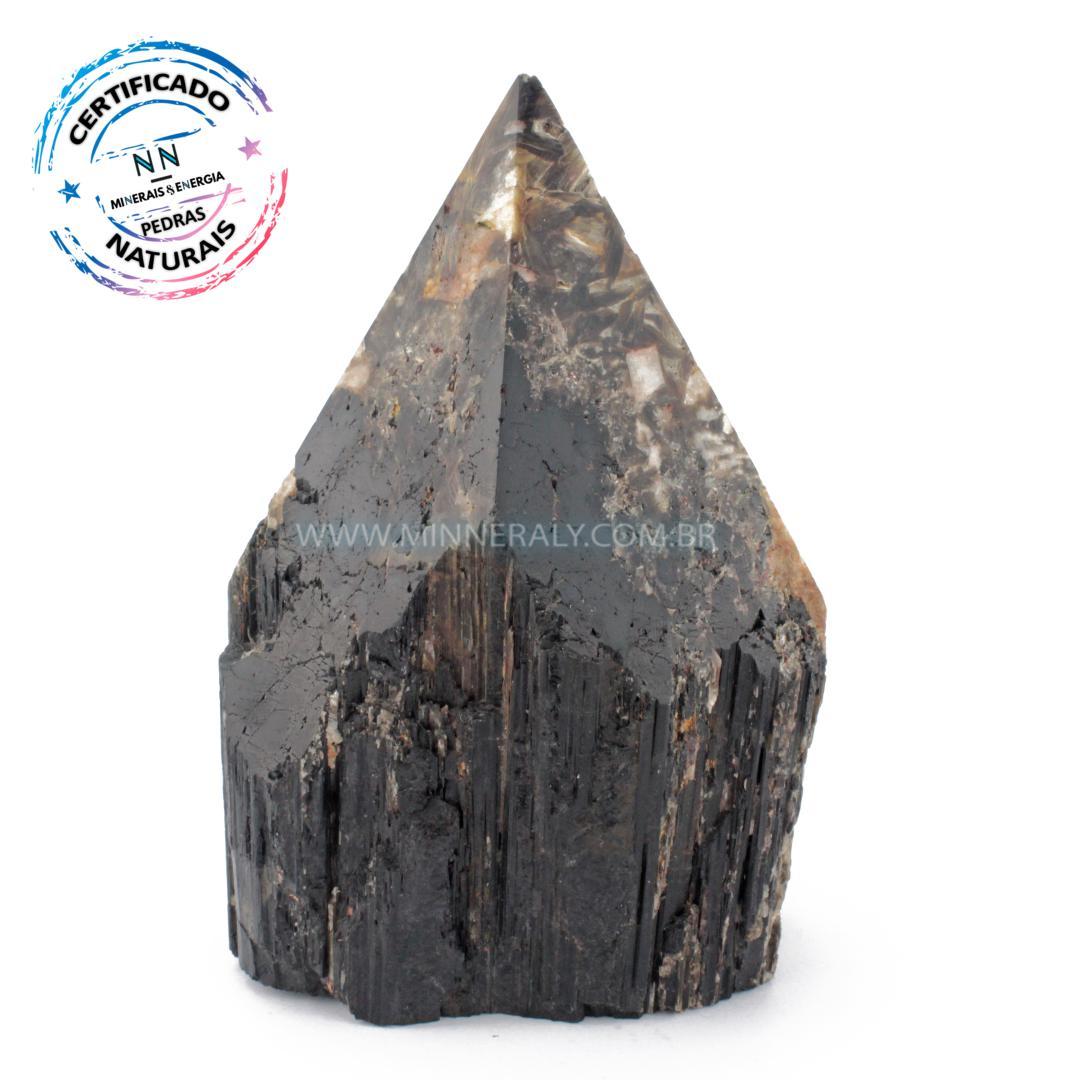 Ponta Geradora de Turmalina Preta (negra ou Schorlina) com Mica IN Natura (1,228KG; ALT: 13,5CM; COMP: 9,1CM; LARG: 7,6CM)