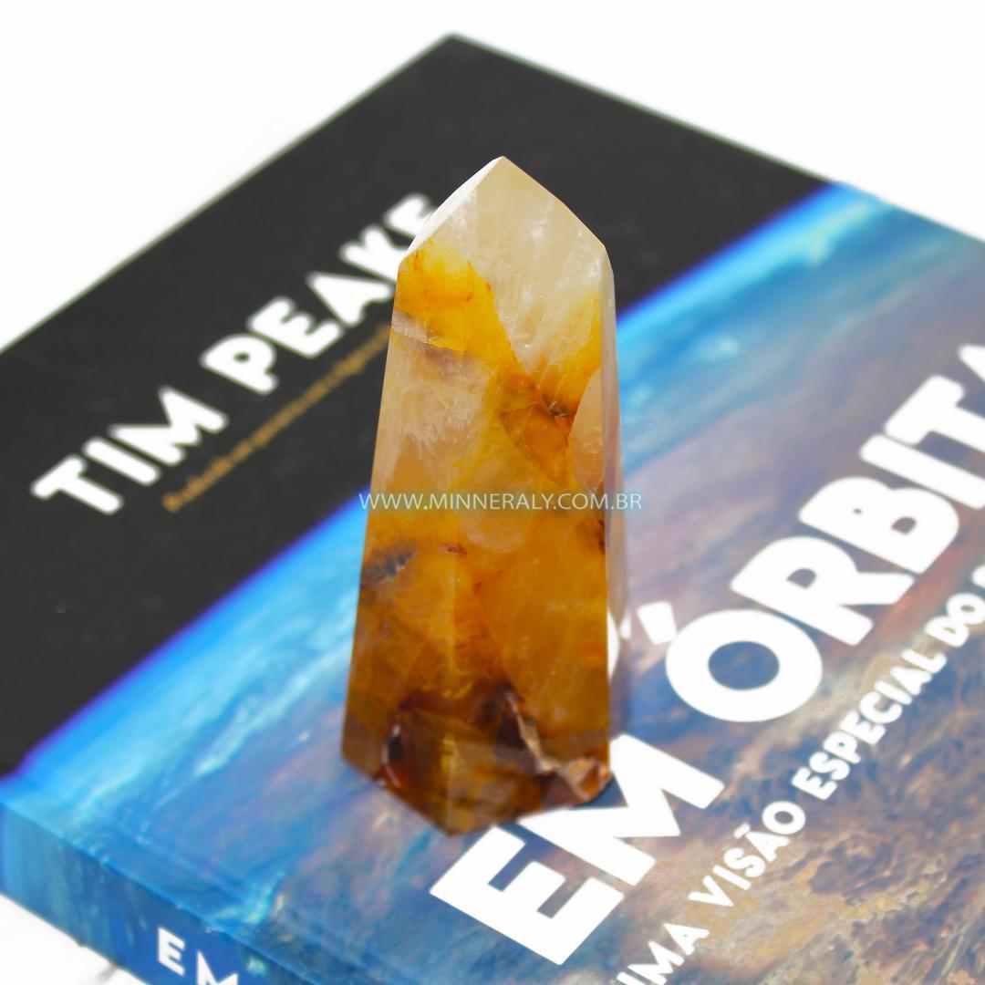 Ponta de Quartzo ou Cristal Hematoide Amarelo (Agente de Cura Ouro) in Natura (0,192kg; 10,7cm) #NN224