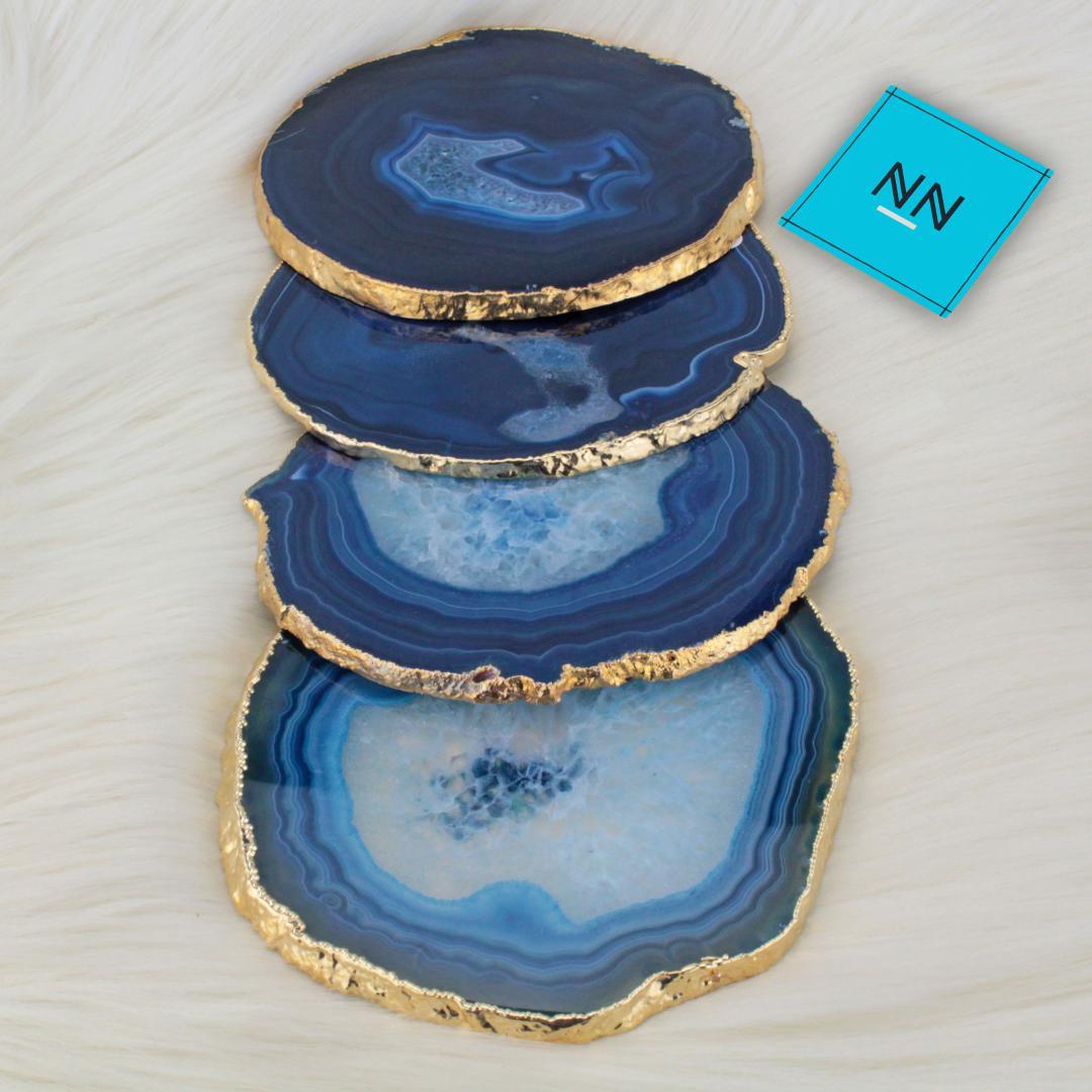 Porta Copo de Chapa de Ágata Azul Reconstituída Ouro
