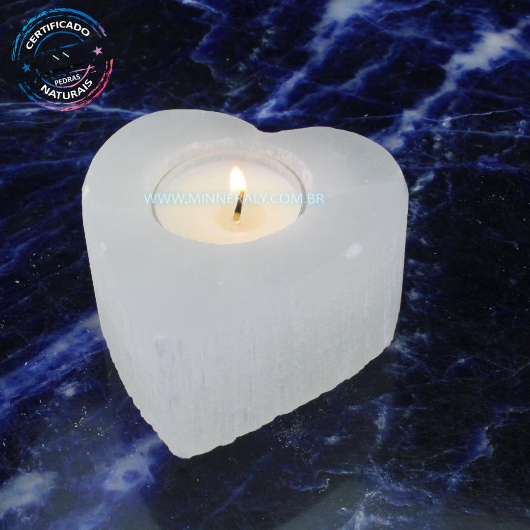 Porta Vela de Coração de Selenita Branca IN Natura
