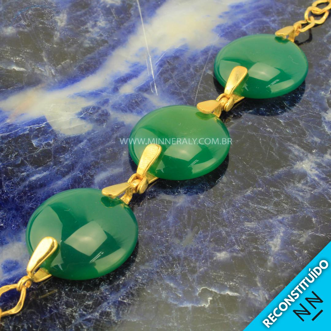 Pulseira de Ágata Verde Reconstituída Ouro