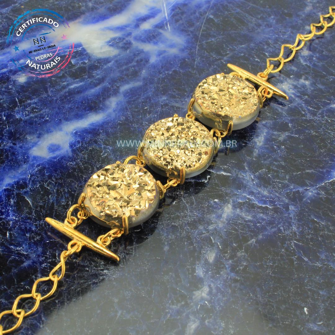 Pulseira de Drusa de Ágata Metalizado Reconstituída Ouro