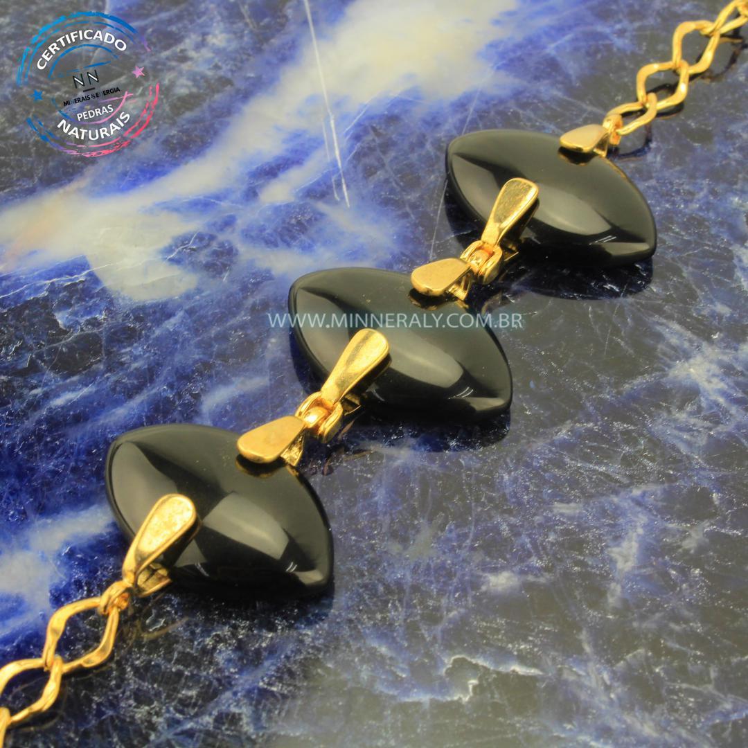 Pulseira de Obsidiana Negra (Preta) in Natura Ouro