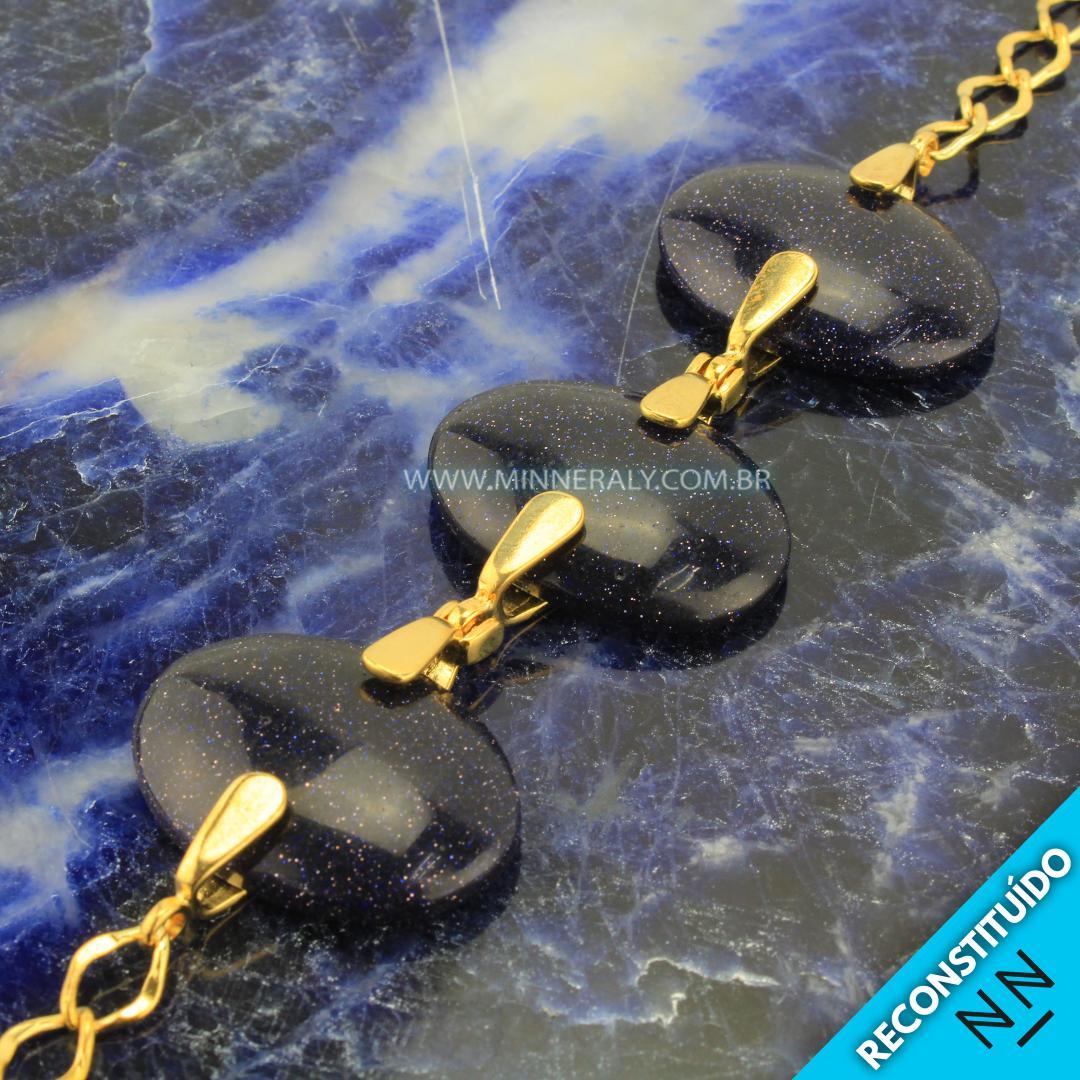 Pulseira de Gold Stone (Pedra Estrela Azul) in Natura Ouro