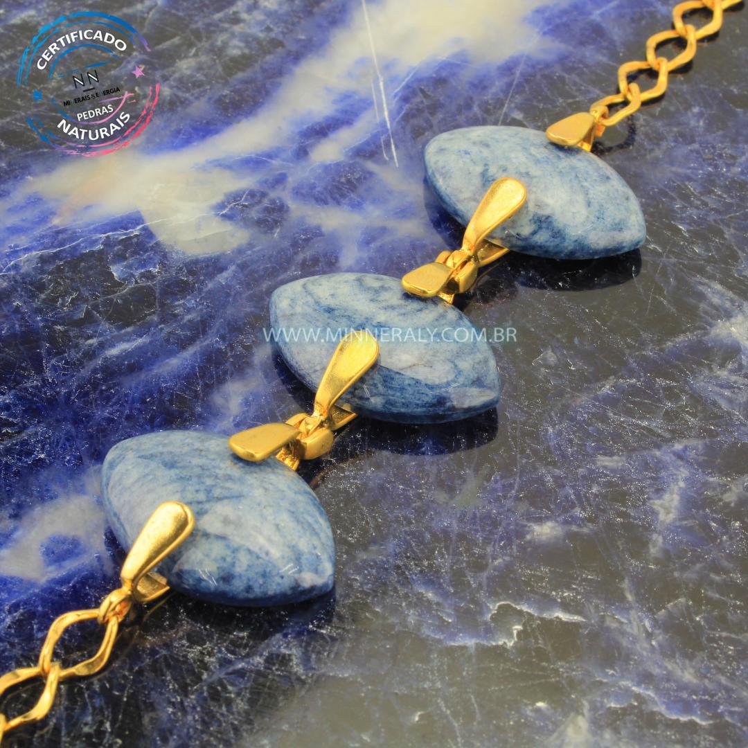 Pulseira de Quartzo Azul in Natura Ouro