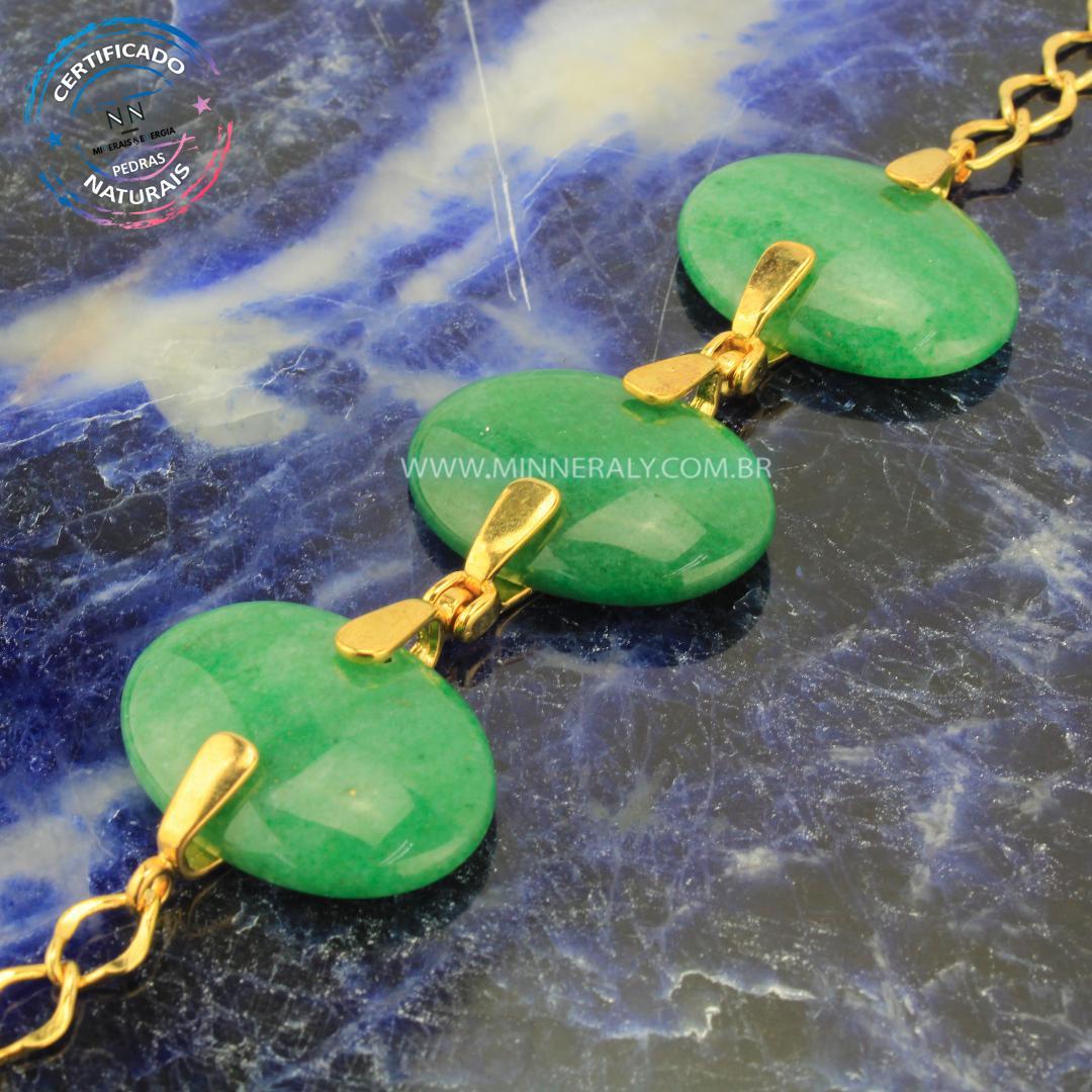 Pulseira de Quartzo Verde in Natura Ouro