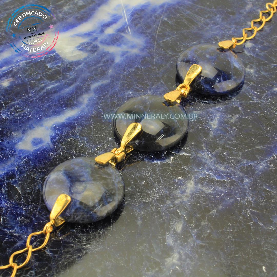 Pulseira de Sodalita in Natura Ouro