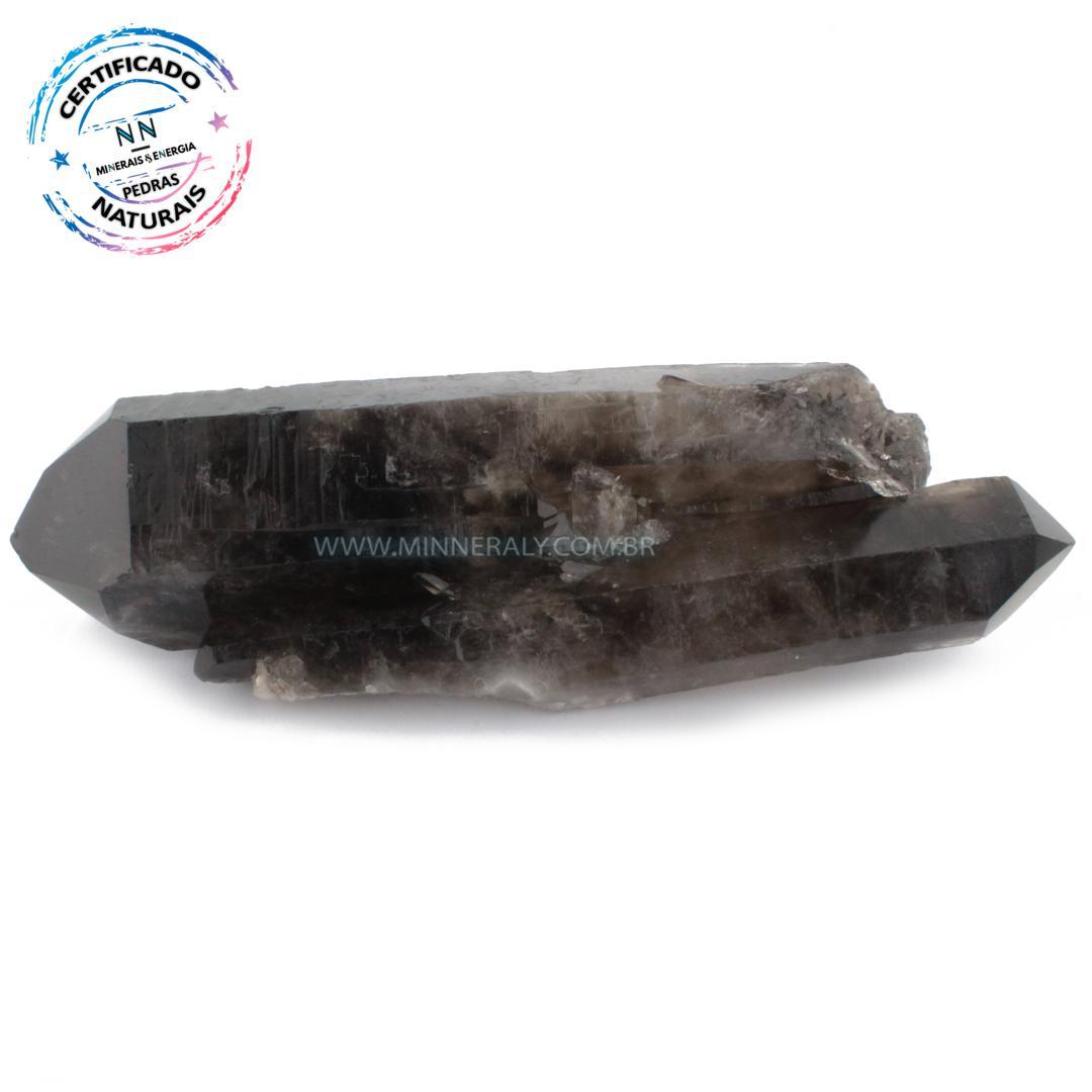Quartzo ou Cristal Fumê (enfumaçado) Biterminado IN Natura em Bruto (1,024KG; ALT: 6,0CM; COMP: 22,8CM; LARG: 6,1CM)
