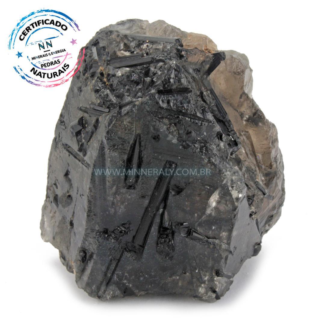 Quartzo ou Cristal Fumê (Enfumaçado) com Turmalina Preta (Negra ou Schorlina) in Natura em Bruto (0,240kg; 6,4cm) #NN165