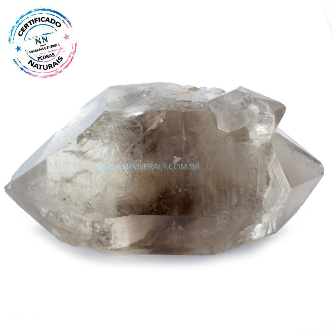 Quartzo ou Cristal Fumê (enfumaçado) Biterminado IN Natura em Bruto (0,416KG; ALT: 5,2CM; COMP: 11,3CM; LARG: 6,0CM)