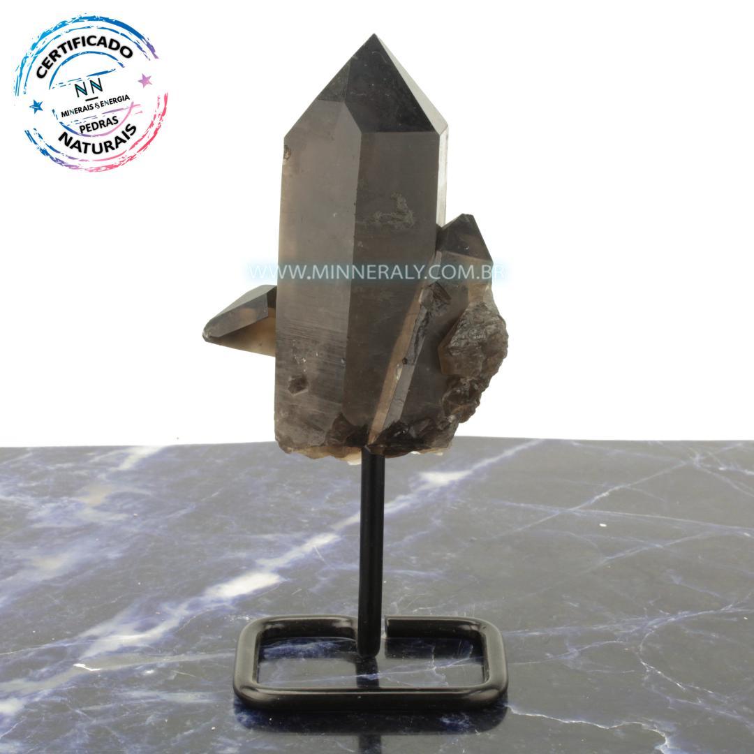 Quartzo ou Cristal Fumê (Enfumaçado) Metal.Collection (0,456kg; 16,9cm) #NN105