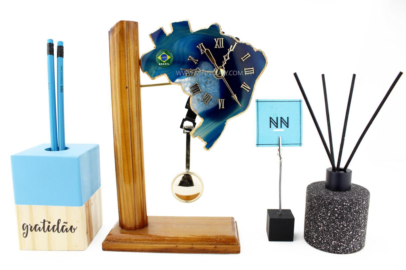 Relógio Mapa com Pêndulo em Ágata Azul #NN101