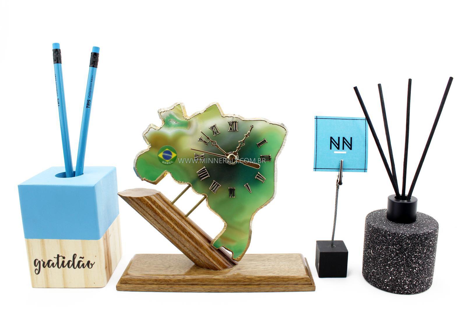 Relógio Mapa em Ágata Verde #NN114