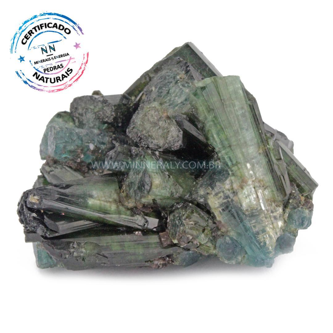 Turmalina AZUL (indicolita) com Turmalina Verde (verdelita) IN Natura em Bruto (0,152KG; ALT: 4,8CM; COMP: 6,6CM; LARG: 5,5CM)