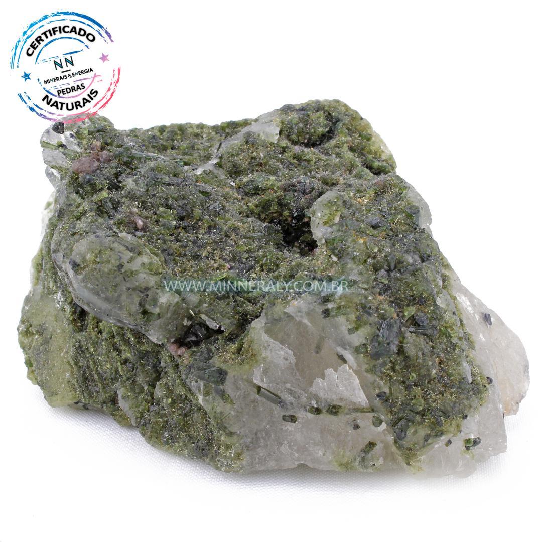 Quartzo ou cristal Branco com Turmalina Verde com Quartzo in Natura Em Bruto #NN612