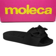 Chinelo Plataforma Slide Feminino Camurca com Laço 5414104 Moleca