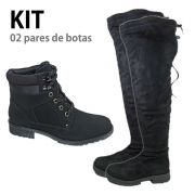 Kit 02 Botas 1 Coturno Cano curto e 1 Over Cano Longo