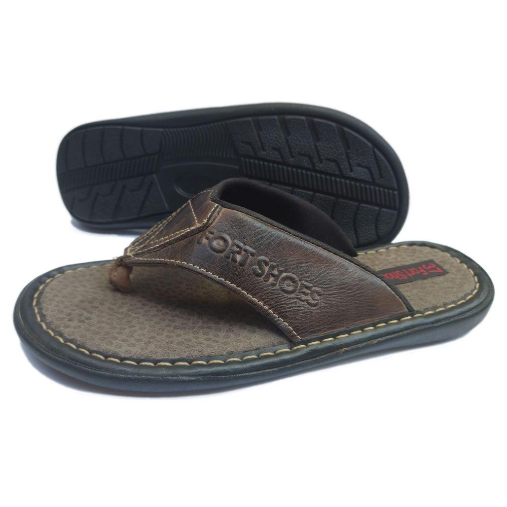 Chinelo Masculino em Couro Legitimo Fort Shoes 101