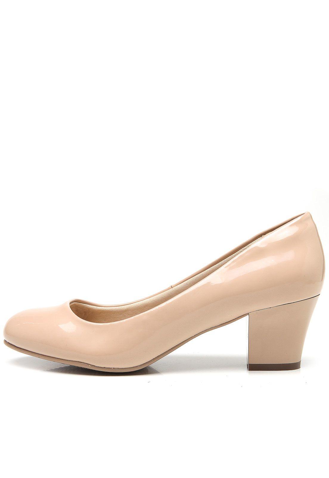 Sapato Feminino Facinelli 62402 Bico Redondo Salto Médio