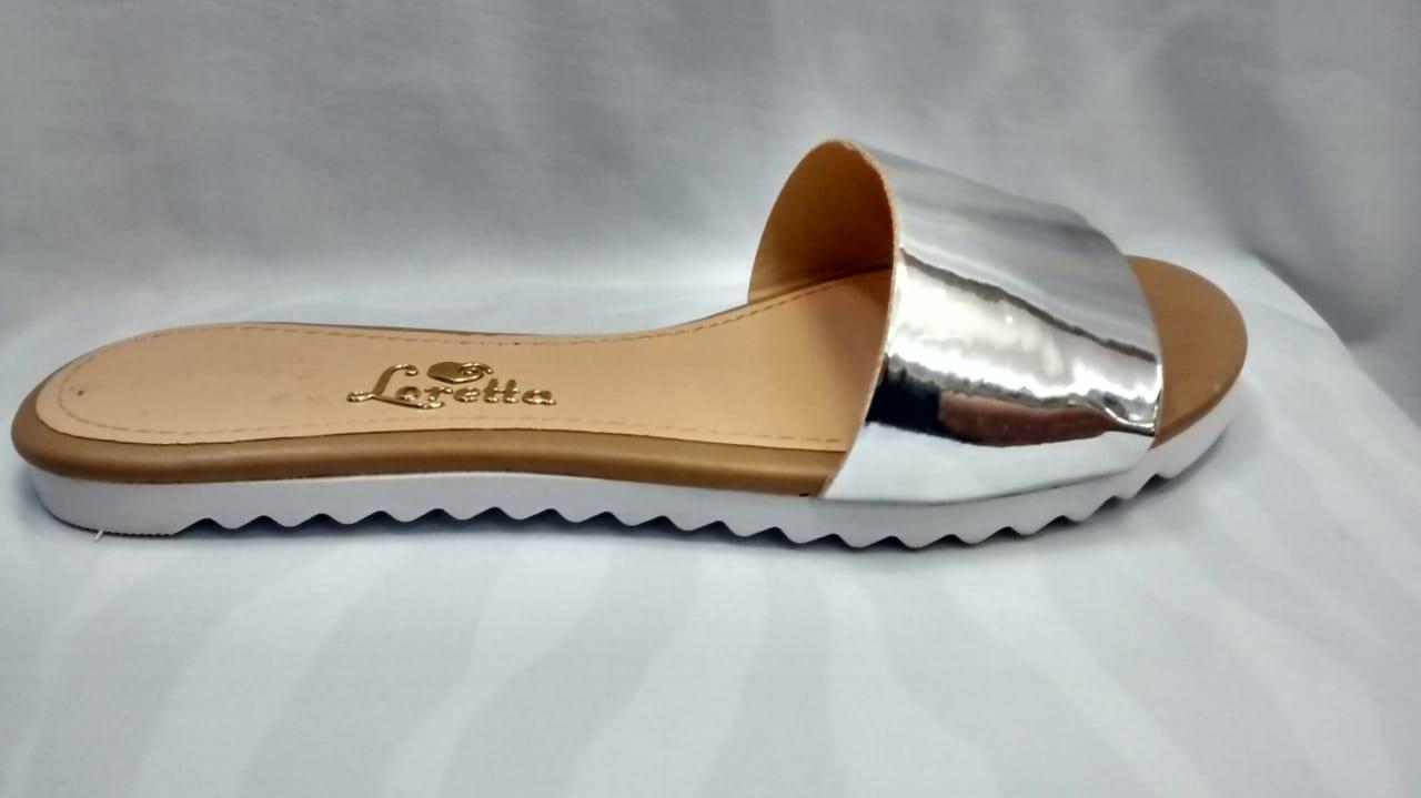 Loretta rasteira Prata Metalizada 1071LA
