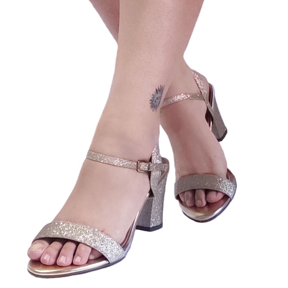 Sandalia de Festa Feminina Salto Grosso Com Tira Vizzano 6262474