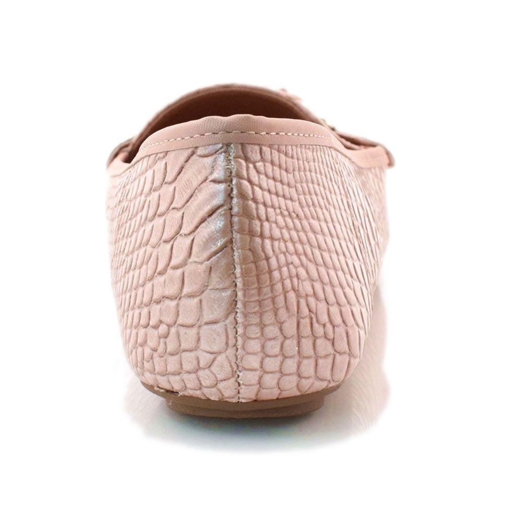 Sapato Feminino Mocassim Vizzano Perolas Cobra Rosa 1187156