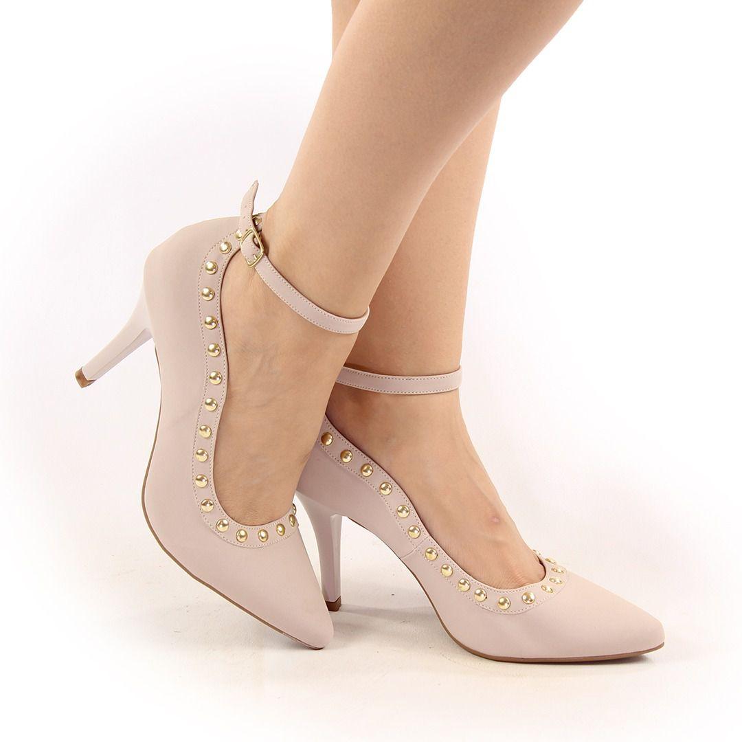 Scarpin Melo Calçados 103102 Feminino Tachas + tornozeleira