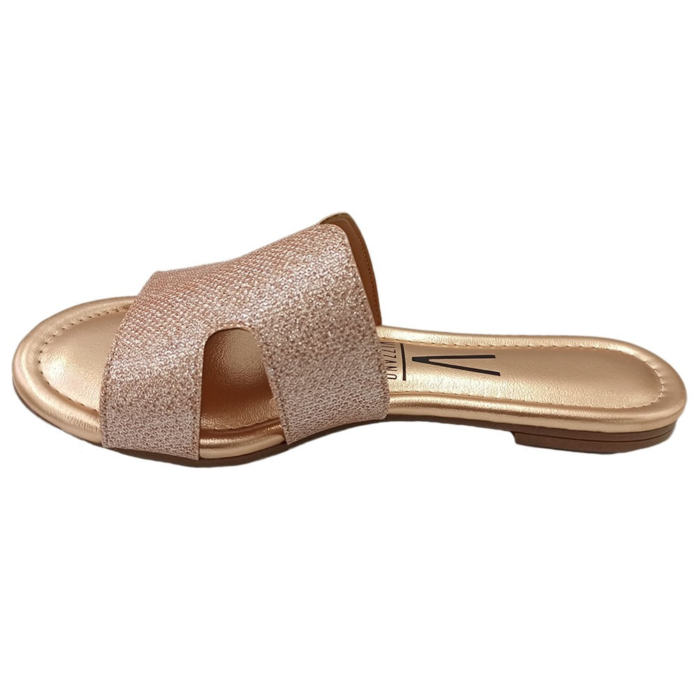 Tamanco Feminino Rasteiro Flat Vizzano Tela Glamour Metalizado 6371122