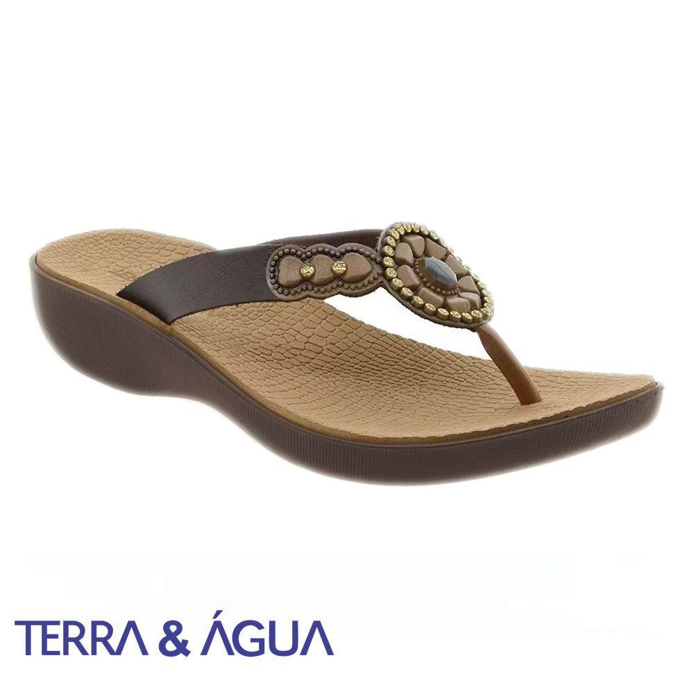 Tamanco Plataforma Anabela Terra e Agua Confort 453500 Enfeite Pedras