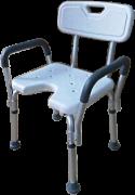 Cadeira de banho com encosto, alças laterais e abertura frontal para higiênica