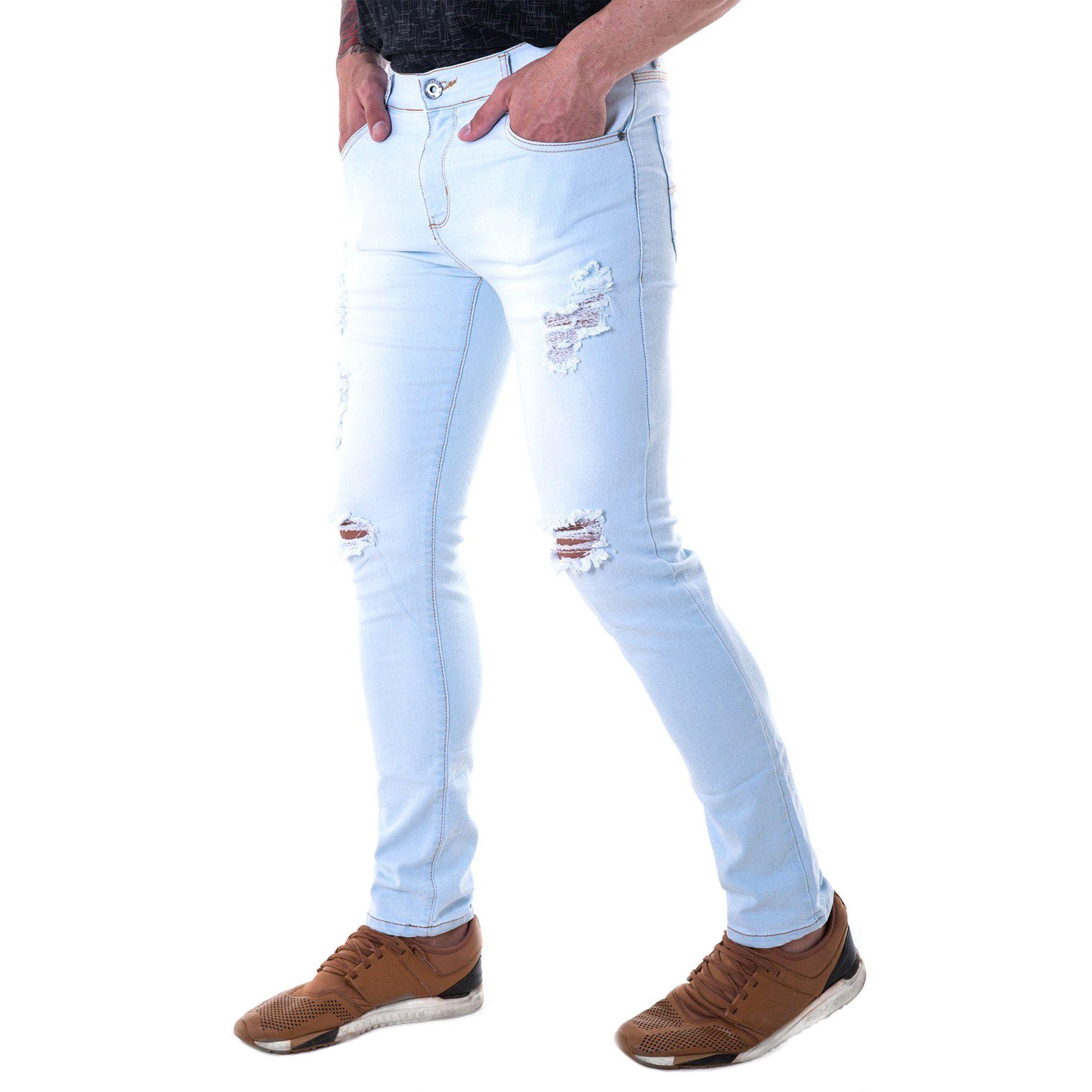 Calça Masculina Skinny Com Lycra Destroyed Água Índigo - bAllAd 15d8896dd1507
