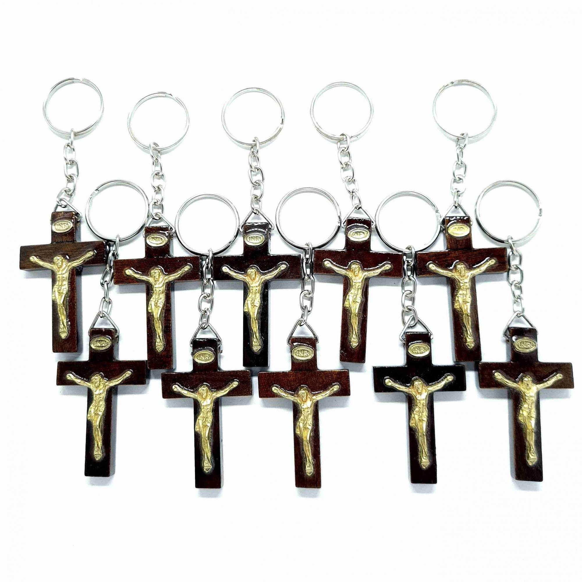 Combo Chaveiros Crucifixo Madeira 5,4 cm - 10 unidades