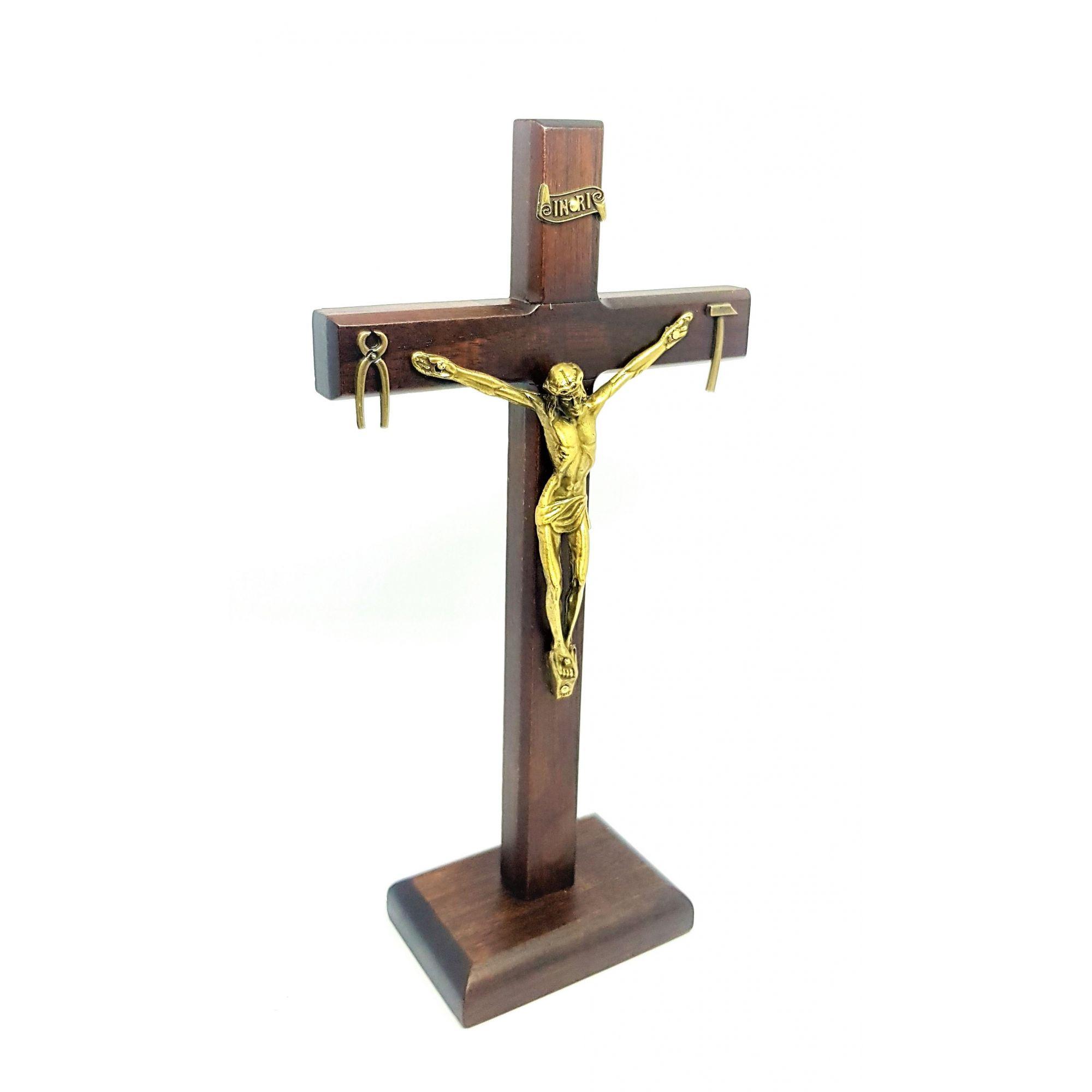 Crucifixo de Mesa de Nossa Senhora da Salette 23 cm (Cruz Saletina Mesa 23 cm)