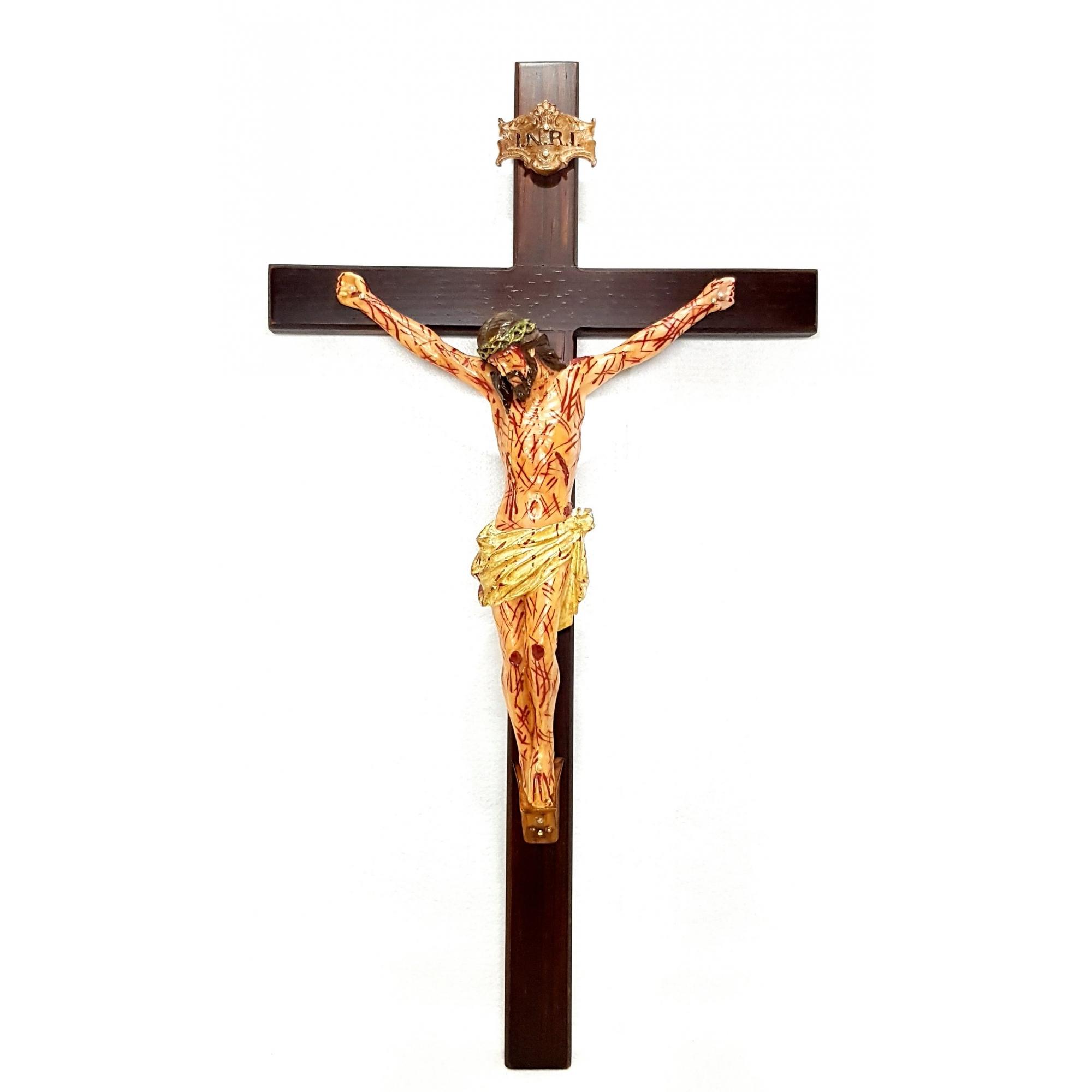 Crucifixo de parede 50 cm com Cristo Chagado em Resina