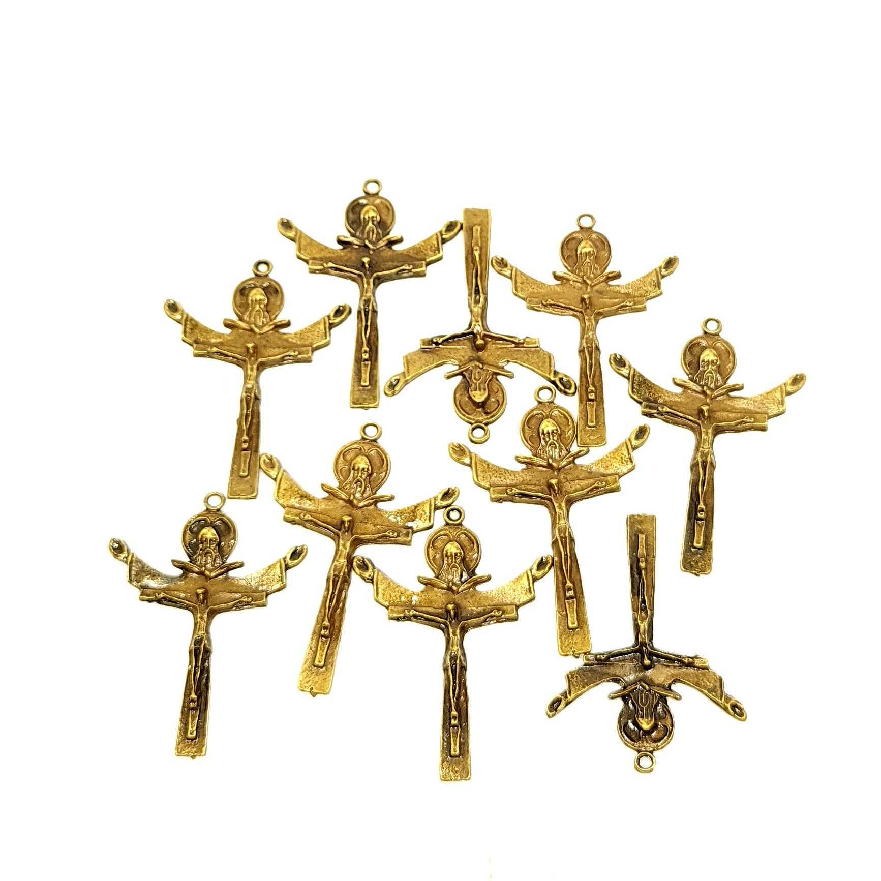 Crucifixo Santíssima Trindade em metal ouro velho - 10 unidades