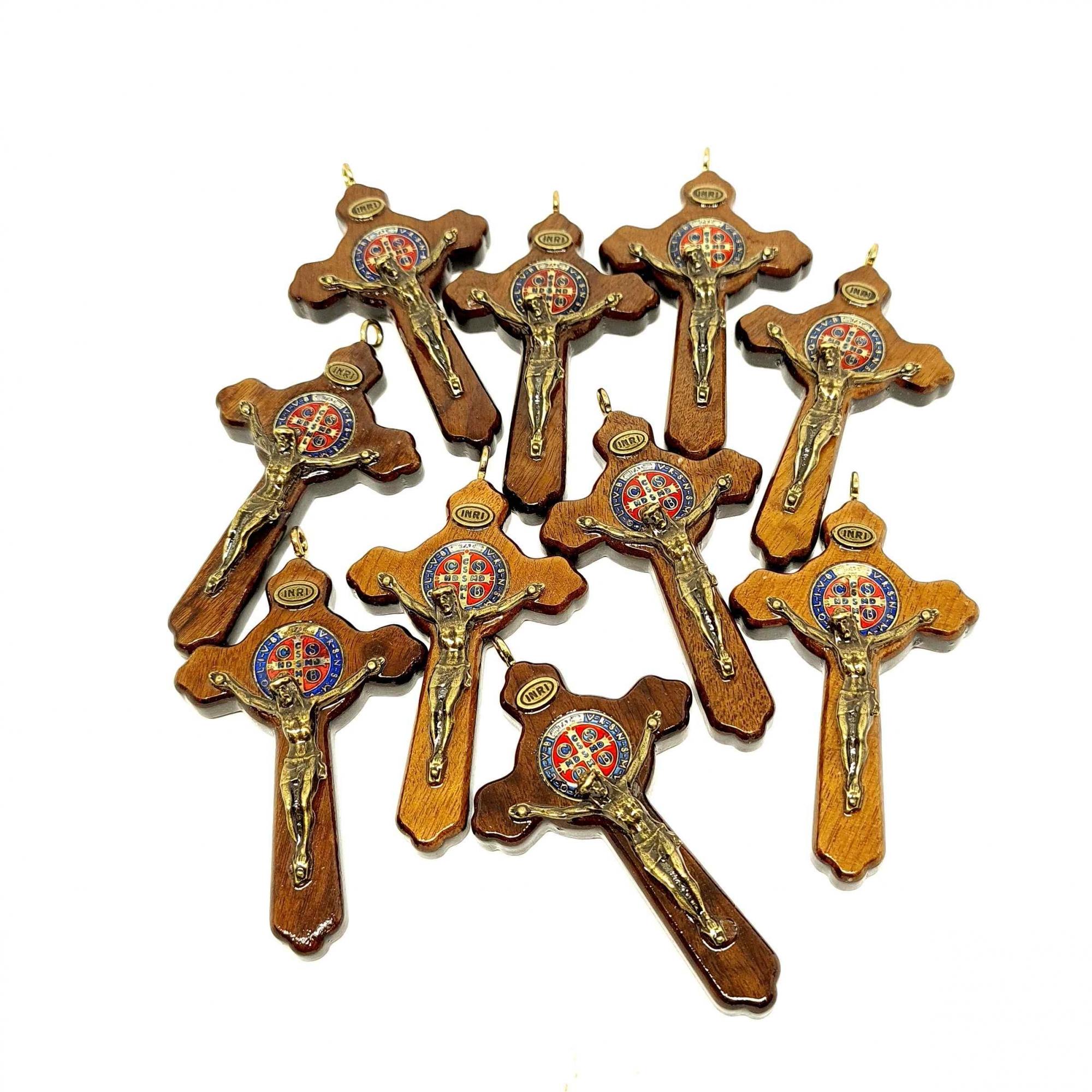 Crucifixo São Bento Luxo 7,5  cm - 10 unidades
