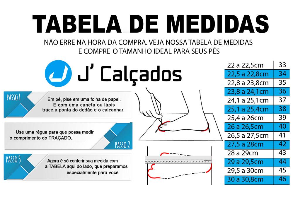 Tabela de Medidas J Calçados