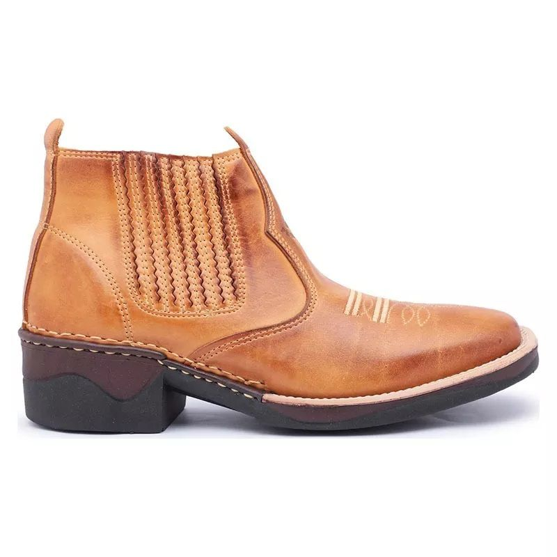 Bota Country Cano Curto Masculina Tan 195