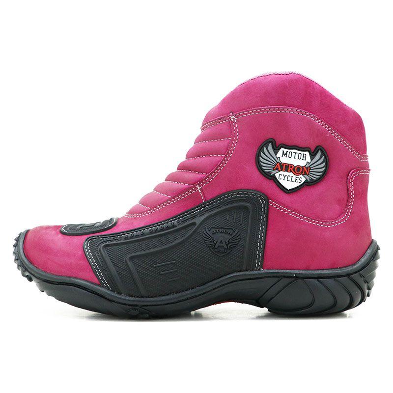 Bota de Motoqueiro de Couro Legítimo Nobuck Pink 283