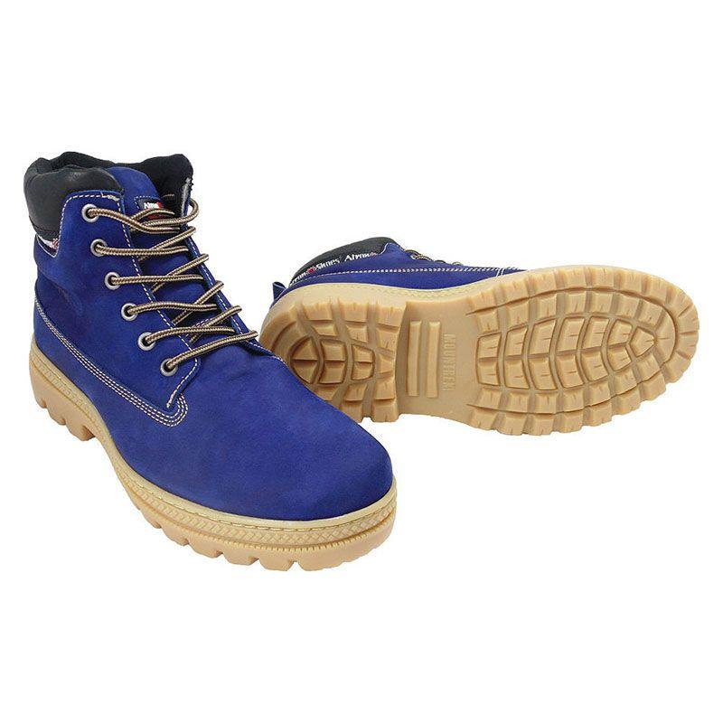 Bota Azul Masculina Worker em Couro 256