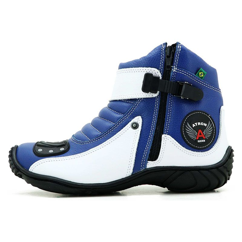 Bota Motociclista Cano Curto Azul e Branca em Couro 271