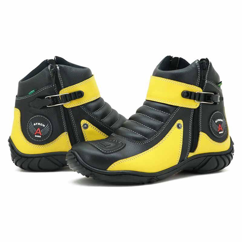 Bota Motociclista Cano Curto Preta e Amarela em Couro 271