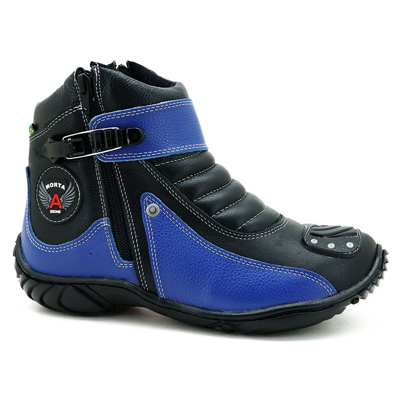 Bota Motociclista Cano Curto Preta e Azul em Couro 271
