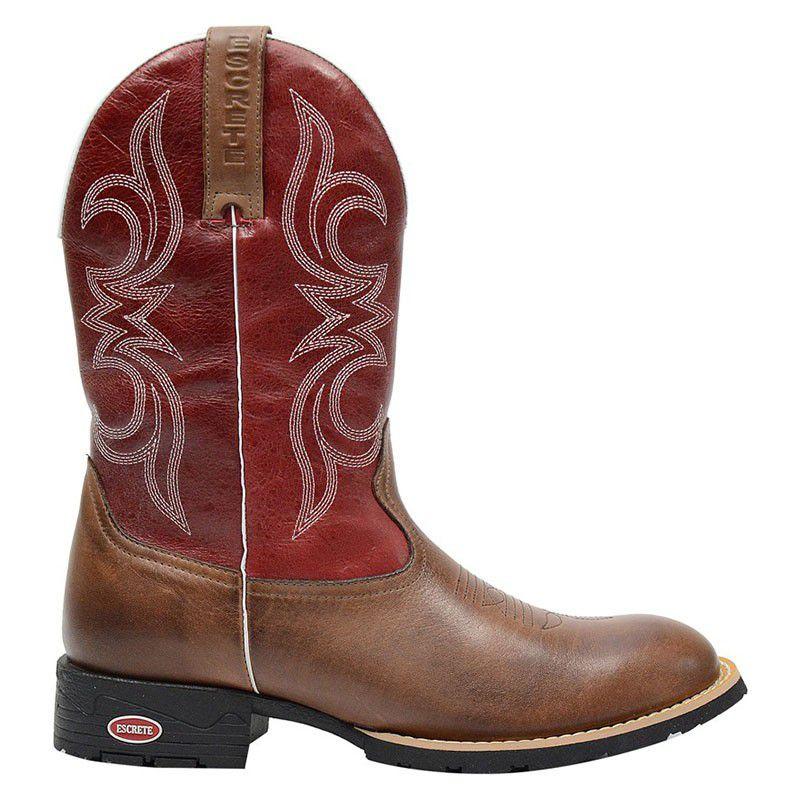 Bota Texana Bico Redondo Masculina Marrom e Vermelha - Café 1824