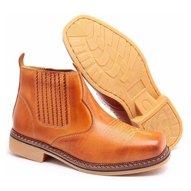 Botina Amarela Masculina Bico Quadrado - Tan 0202