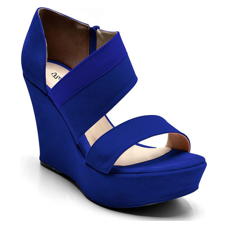 Sandália Anabela Azul Royal Feminina 3111