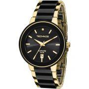 Relógio Feminino Technos Ceramic Elegance 2115KRS/4P Pulseira Dourado/Preto