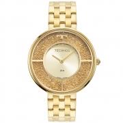 Relógio Feminino Technos Elegance Crystal 2025LTS/1X 38mm Aço Dourado
